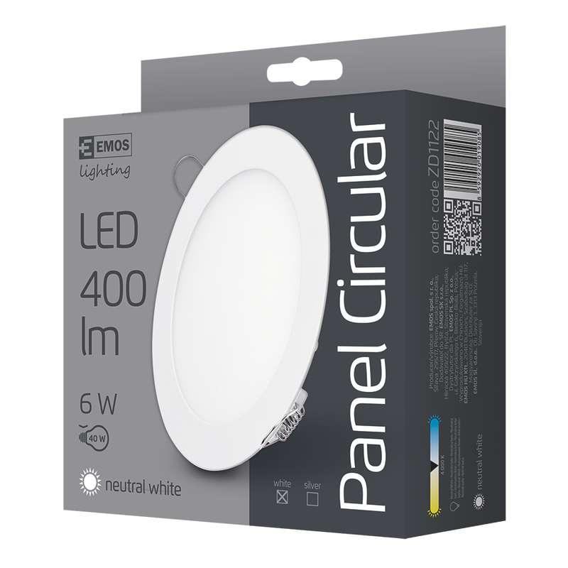 LED vestavné svítidlo, kruh 6W neutrální bílá