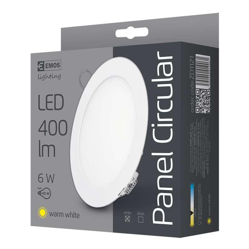 LED vestavné svítidlo, kruh 6W teplá bílá