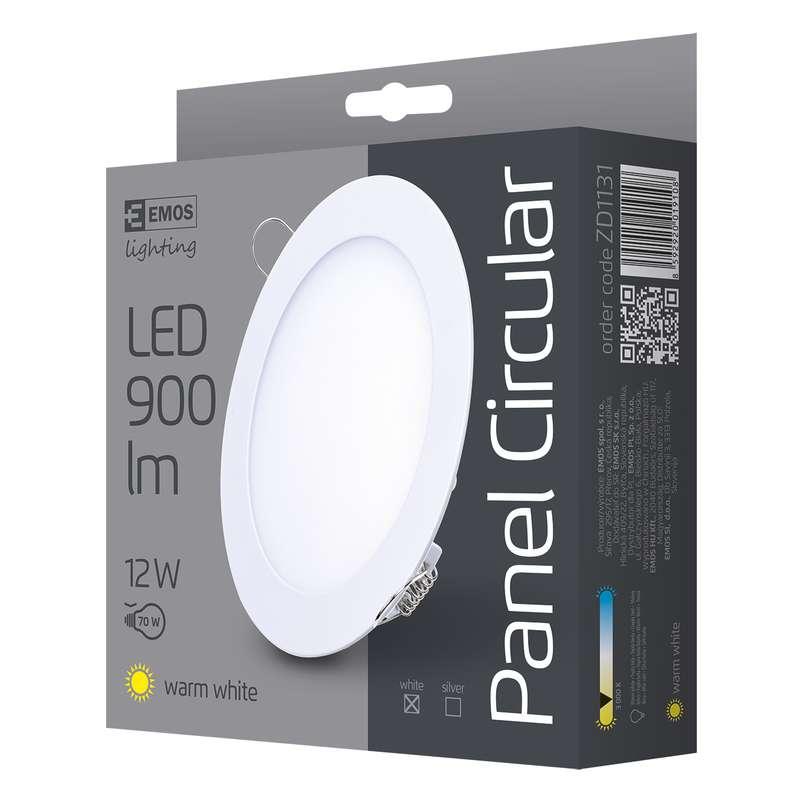 LED vestavné svítidlo, kruh 12W teplá bílá