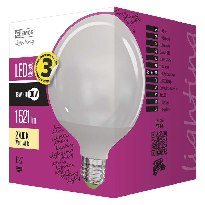 LED žárovka E27 18W GLOBE