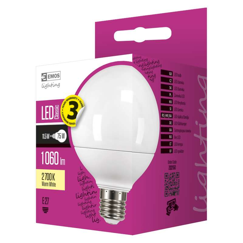 LED žárovka E27 11,5W GLOBE